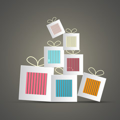 Retro Abstract Vector Paper Gift Boxes