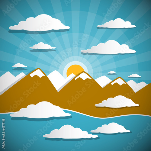 Abstract Vector Background with Mountains, Clouds