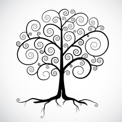 Abstract Vector Black Tree Illustration