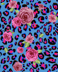 Roses on leopard seamless background