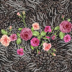 Animal skin and rose seamless pattern