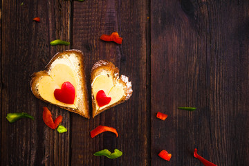 Valentine sandwiches breakfast lovers wooden