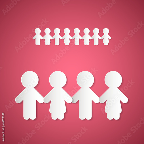 Paper People Holding Hands on Pink Background