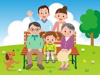幸せ家族の記念写真
