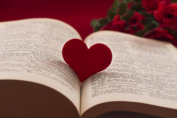 Heart in between a book with roses in the background