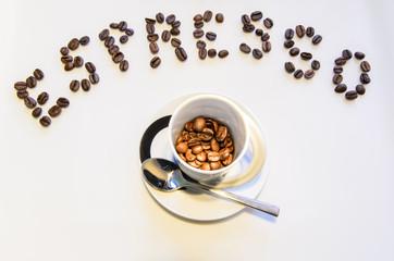 Espresso Schriftzug und Espressotase