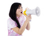 A young girl with megaphone