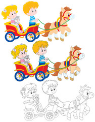 Children riding a pony carriage