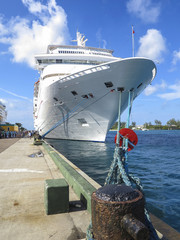 cruise ship docked in bahamas