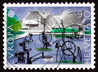 Postage stamp Switzerland 1987 Carnival Fountain, Sculpture
