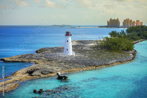 Tuinposter Luchtfoto nassau bahamas and lighthouse