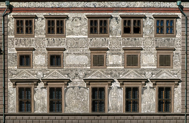 Sgraffito wall decor on the Town Hall in Plzen, Czech Republic