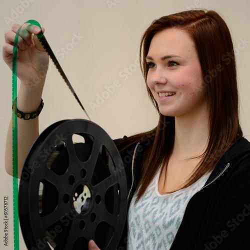 canvas print picture Teenager mit Filmstreifen