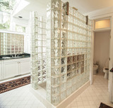 modern glass and tile bathroom