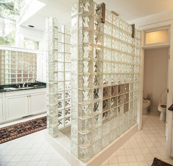 modern glass and tile bathroom