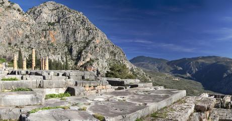 Ruins of Apollo temple in Delphi, Greece.