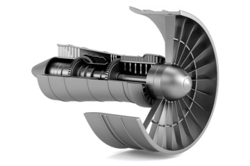 realistic 3d render of turbine - airplane