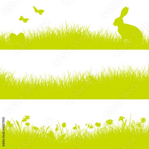 3 Easter Banner Meadow Bunny Green