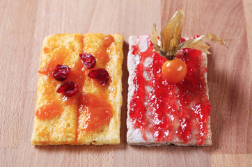 Crispbread with jam and marmalade