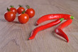 Tomatoes and red hot peppers