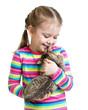 happy child girl holding  cat isolated on white