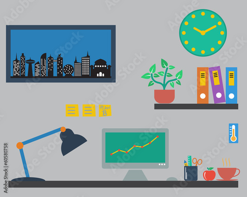 Flat design vector of designer office