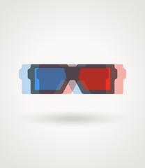 Modern 3d cinema glasses illustration