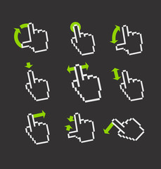 Pixel hand cursors collection in perspective. Guide with basic g