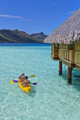 Kayakers in Bora Bora, Tahiti