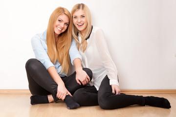 Two female friends having fun