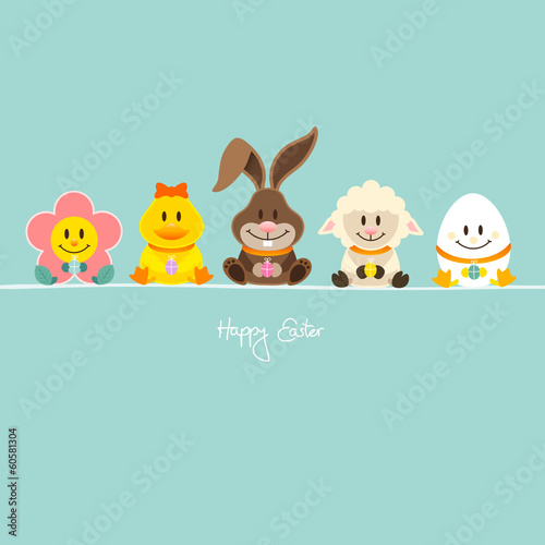 Flower, Duck, Bunny, Lamb & Egg With Eggs Blue