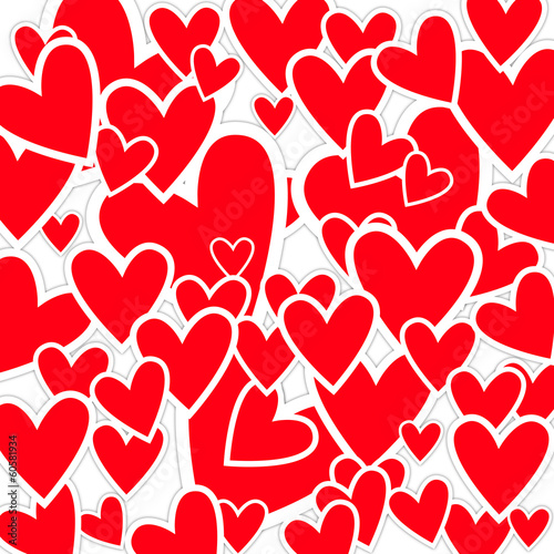 Romantic background with red heart shapes made of paper