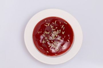 Tomato ketchup and dry rosemary.