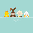Duck, Bunny, Lamb & Egg With Eggs Retro