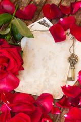 vintage background with rose petals
