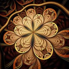 Colorful dark fractal flower, digital artwork