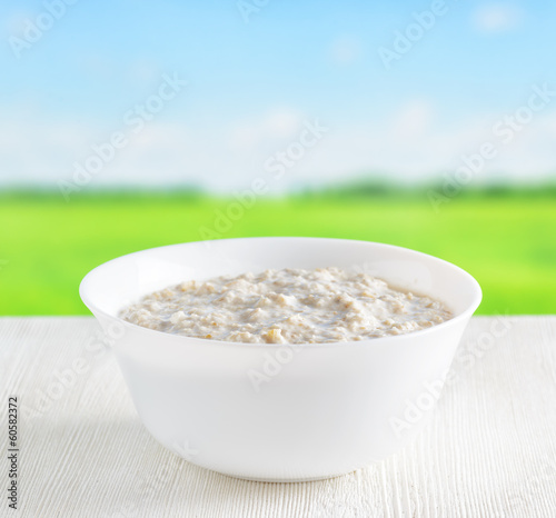 Bowl of oat porridge on nature background