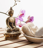 pampering exfoliation with loofah with faith in Buddhism poster
