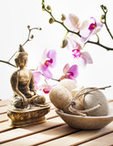loofah and exfoliating pebble with Buddha and sensual flowers poster