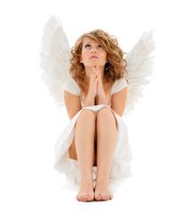 praying teenage angel girl