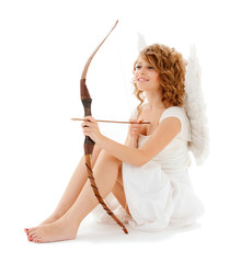 happy teenage cupidl girl with bow and arrow