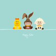 Duck, Bunny & Lamb With Eggs Retro