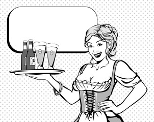 Tyrolese waitress with beer