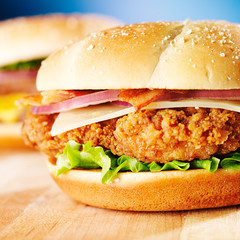 crispy chicken sandwich with bacon close up