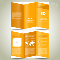 3d dimensional design brochure yellow background