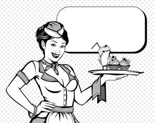 Vintage pin up waitress