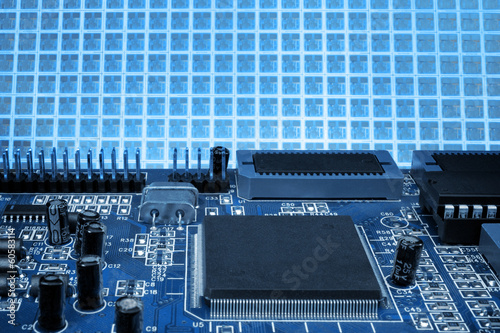 Blue board and wafer background
