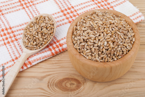 Wheat grains in a plate.