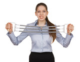 Woman trying to stretch the metal expander