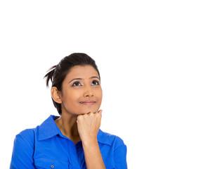 Woman thinking hand on cheek looking up having idea